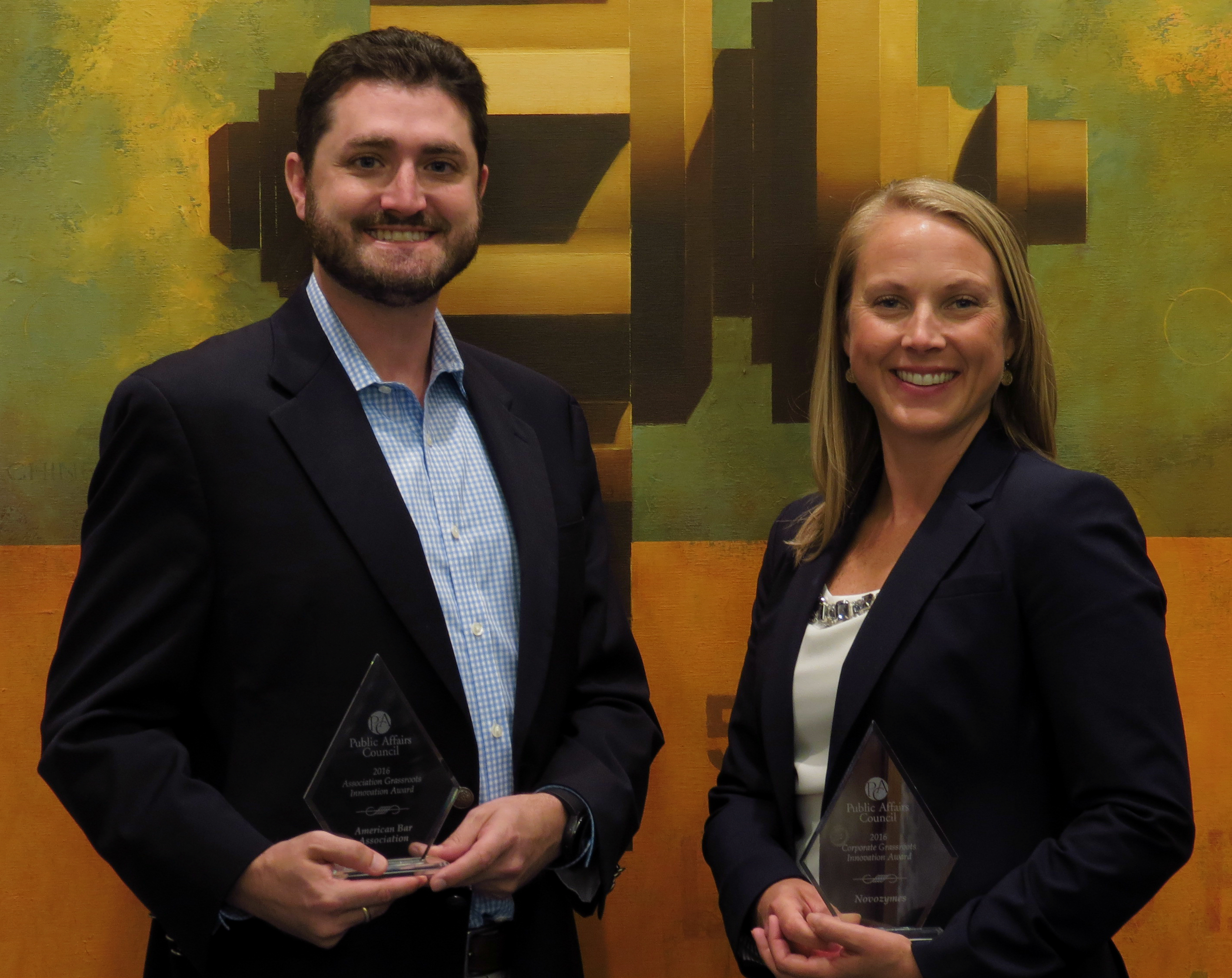 2016 Grassroots Innovation Award winners Jared Hess of the American Bar Association and Novozymes' Amy Davis